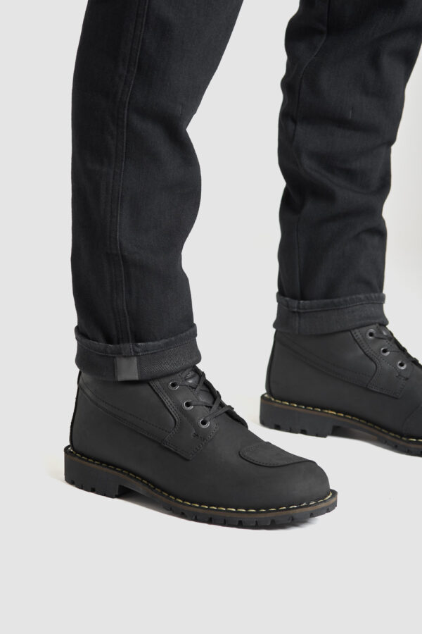 Steel Black 02 Motorcycle Jeans with combination of boots