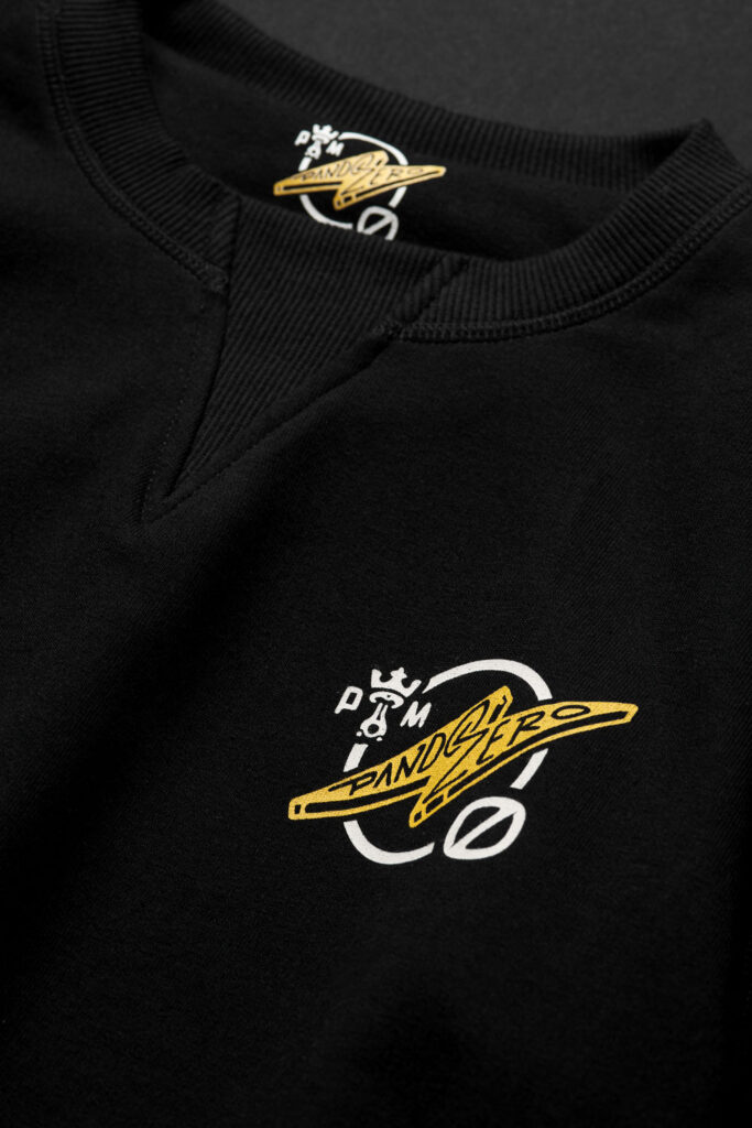 Black KYLE ZERO 1 Biker Hoodie close-up logo