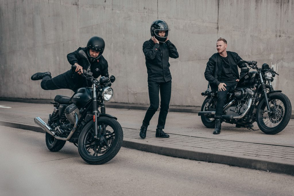 A group of biker preparing for a ride in their Dyneema jeans